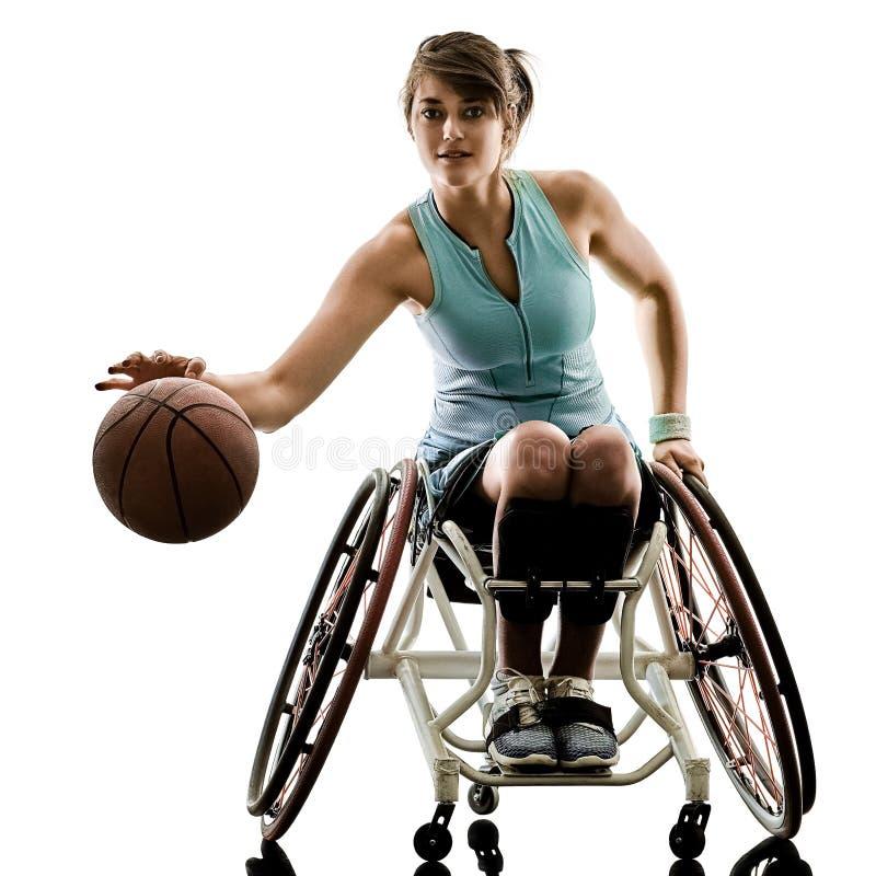 Potomstwo upośledzający koszykowy balowy gracz kobiety wózek inwalidzki bawi się iso zdjęcia royalty free