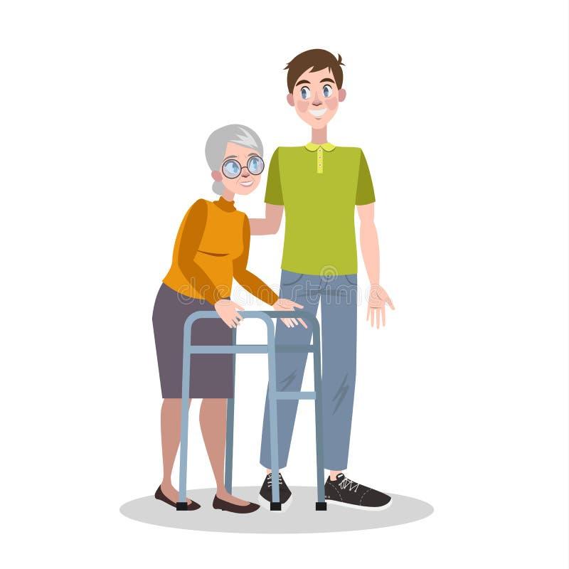 Potomstwo wolontariusza pomocy stara kobieta Opieka i poparcie ilustracja wektor