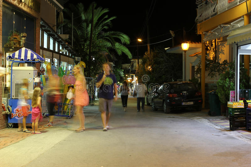POTOS, THASSOS ISLAND, GREECE - 24 JULY 2014 Street shots in the night with long exposure stock images