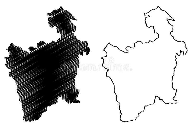 Potosi-Abteilungs-multinationaler Staat von Bolivien, Abteilungen der Bolivien-Kartenvektorillustration, Gekritzelskizze Potosi-K stock abbildung