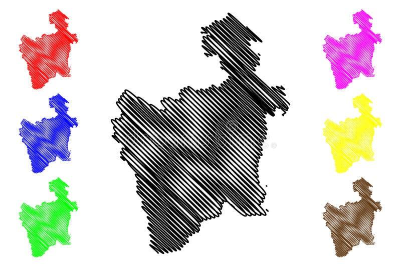 Potosi-Abteilungs-multinationaler Staat von Bolivien, Abteilungen der Bolivien-Kartenvektorillustration, Gekritzelskizze Potosi-K vektor abbildung