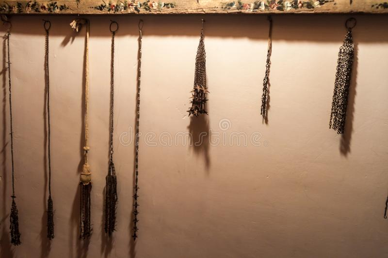 POTOSI, BOLIVIA - APRIL 19, 2015: Autoflagellation instruments in the Convento de Santa Teresa monastery, Potosi, Boliv stock images