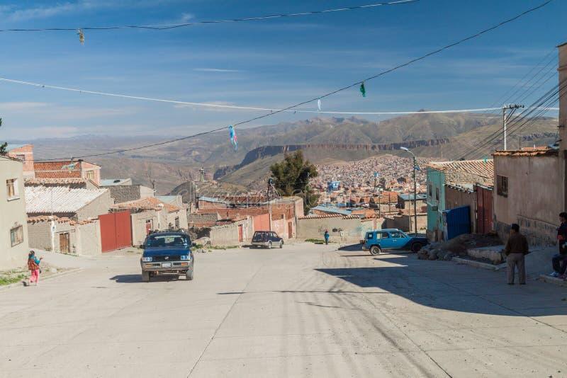 POTOSI, BOLIVIA - APRIL 20, 2015: Broad street with a view of Potos royalty free stock image