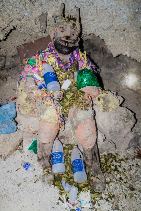 POTOSI, BOLIVIA - APRIL 20, 2015: El Tio, idol worshipped by local miners. Potosi, Bolivi royalty free stock photography
