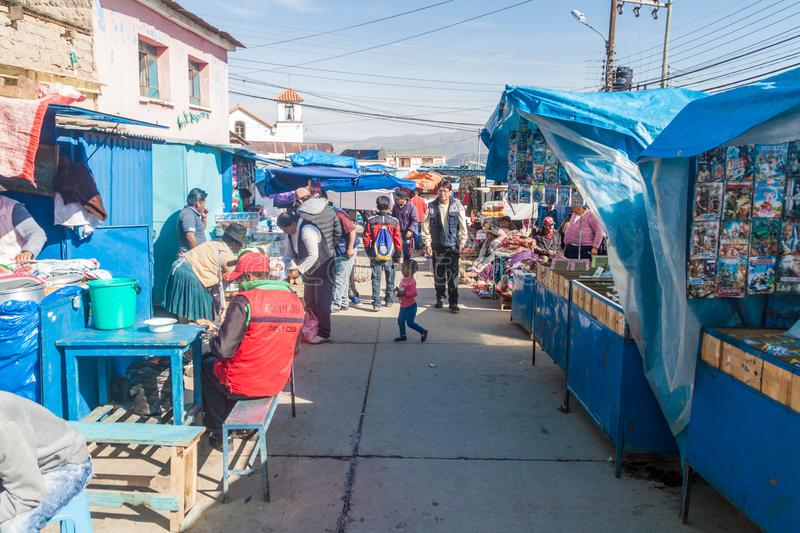 POTOSI, BOLIVIA - APRIL 20, 2015: Local people on a market in Potos stock photography