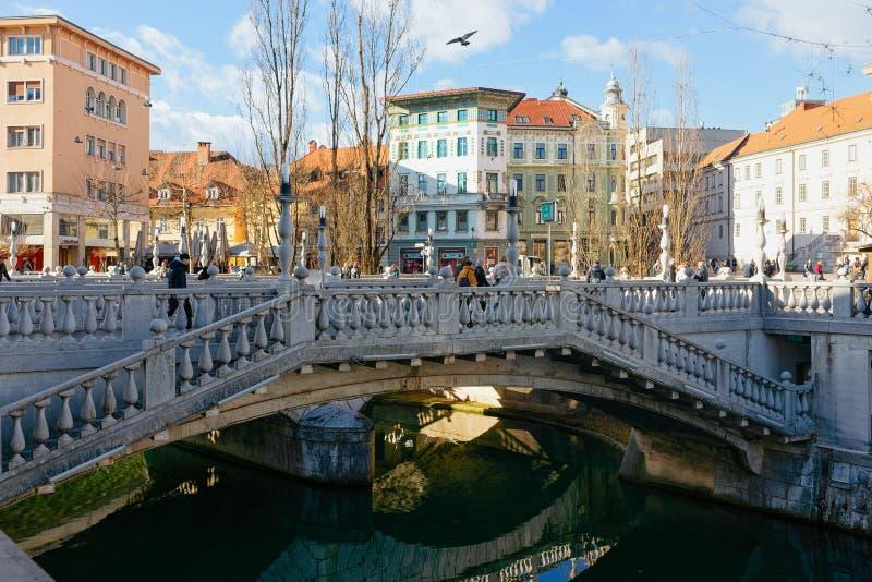 Potrójny most nad Ljubljanica Ljubljana Rzeczna stara grodzka ulica zdjęcie royalty free