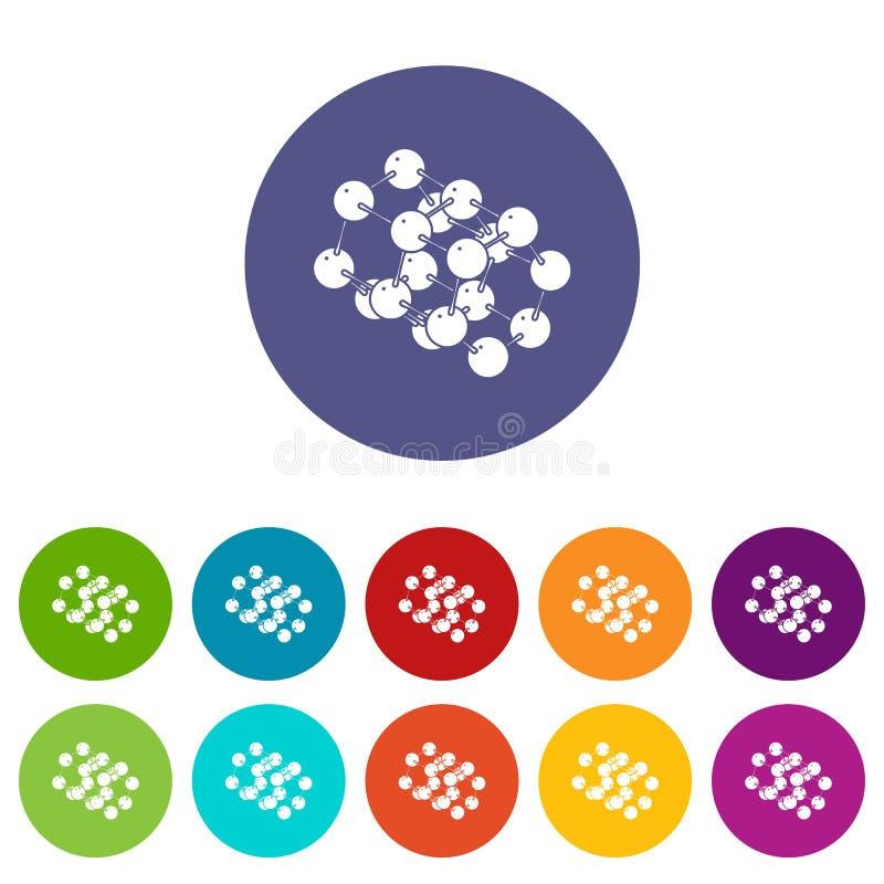 Potrójne ikony ustawiający molekuła wektorowy kolor ilustracji