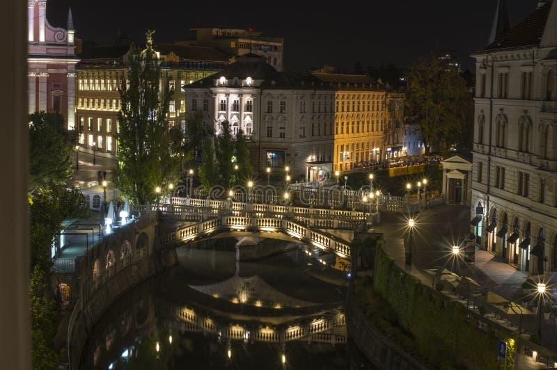 Potrójny most nad rzecznym Ljubljanica, Ljubljana, Slovenia obrazy royalty free