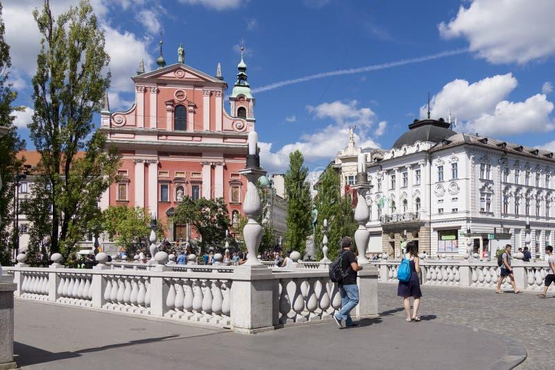 Potrójny most z kościół Annunciation Ljubljana, Slovenia obraz stock