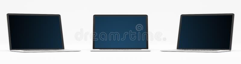 Potrójny nowożytny cyfrowy srebro i czarny laptopu 3D rendering ilustracji