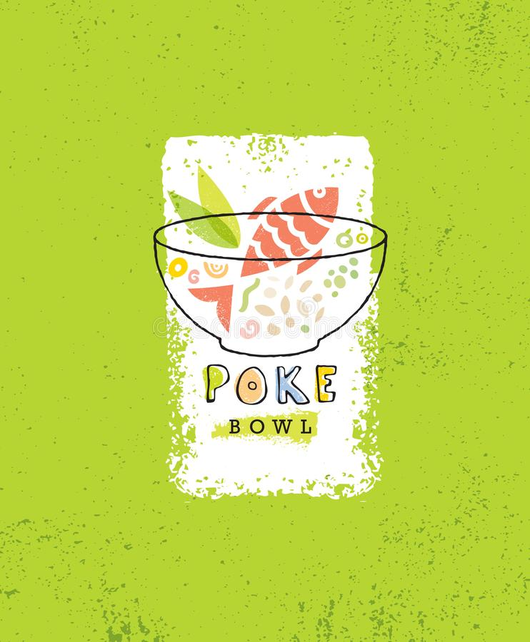 Potrącenie pucharu Hawajskiej kuchni projekta Restauracyjny Wektorowy element Zdrowego Karmowego menu Kreatywnie Szorstka ilustra ilustracja wektor