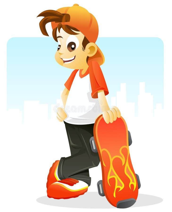 Potrait eines kühlen Kindes mit seinem Rochenvorstand stock abbildung