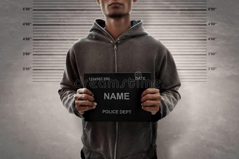 Potrait man mugshot of criminal. Potrait a man mugshot of criminal royalty free stock photos