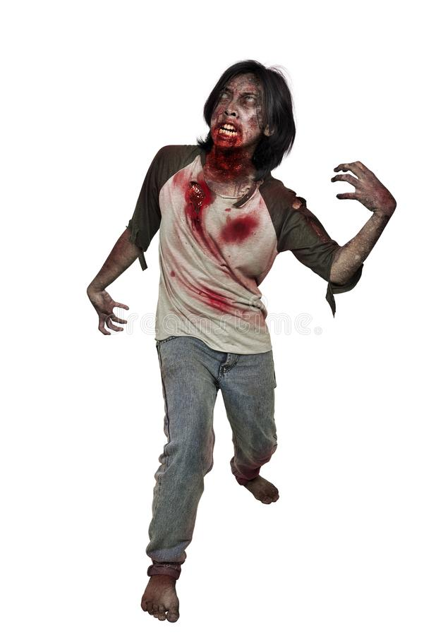Potrait of scary zombie man with bloody mouth posing. Isolated over white background stock photography
