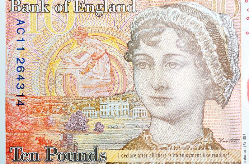 Potrait VON Jane Austin auf einer zehn Pfund-Anmerkung lizenzfreies stockbild