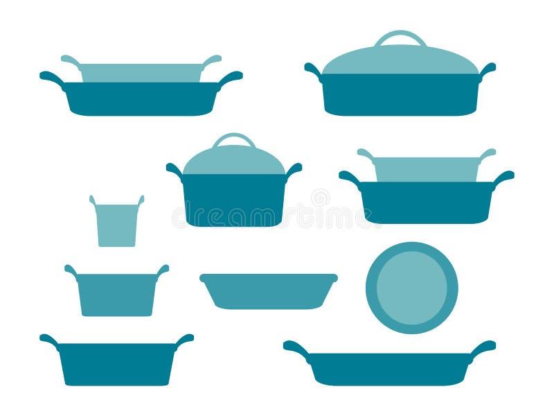 Potrawki i pieczeń naczynia chodnikowiec, kolekcja glassware kitchenware i cookware ustawiający kuchenni naczynia dla domowego ku ilustracja wektor