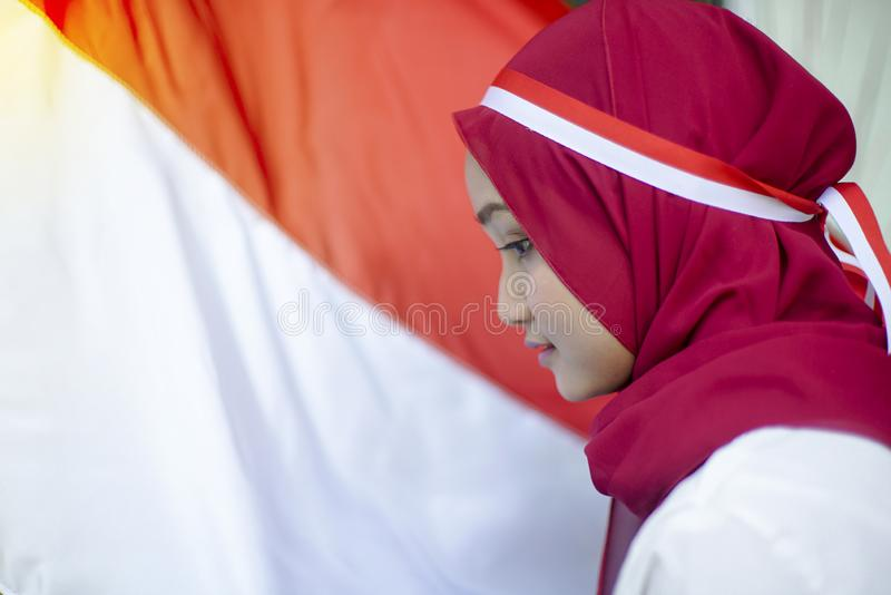 Potret Asian Girls with Indonesian flag, Indonesia independence day stock photos