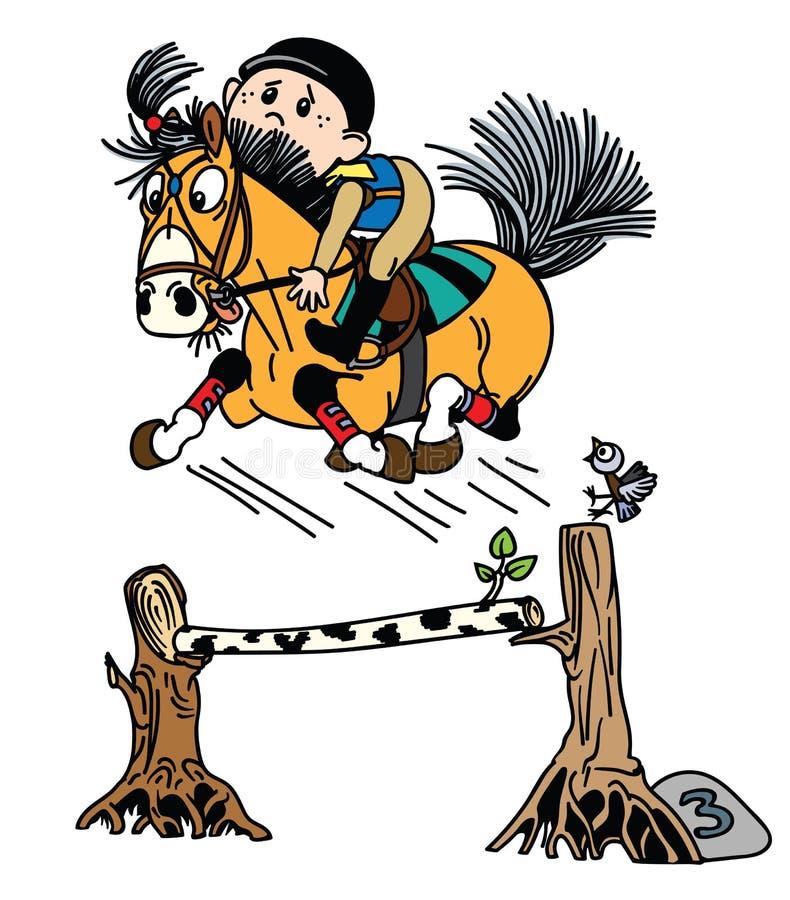 Potro ecuestre de la historieta que salta sobre obstáculo stock de ilustración