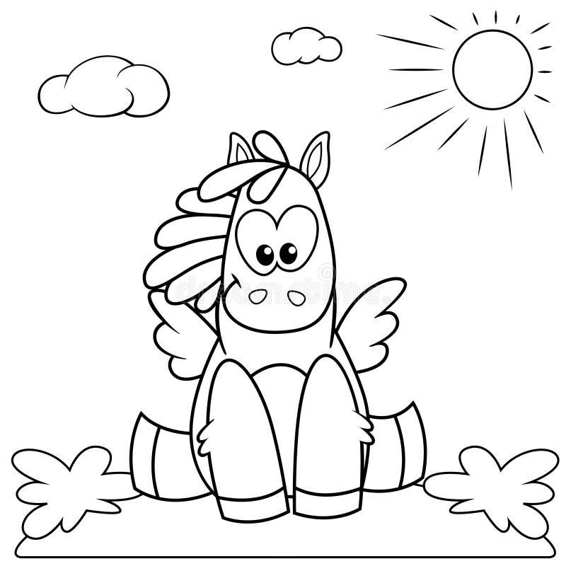 Potro lindo de la historieta que se sienta en el prado Ejemplo blanco y negro para el libro de colorear ilustración del vector