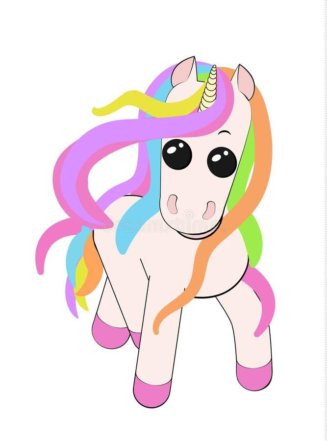 Potro lindo del unicornio con los colores de la melena del arco iris aislados en el fondo blanco libre illustration