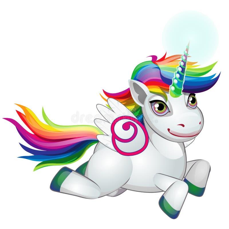 Potro lindo del unicornio con los colores de la melena del galope del arco iris feliz aislado en el fondo blanco Como símbolo de libre illustration