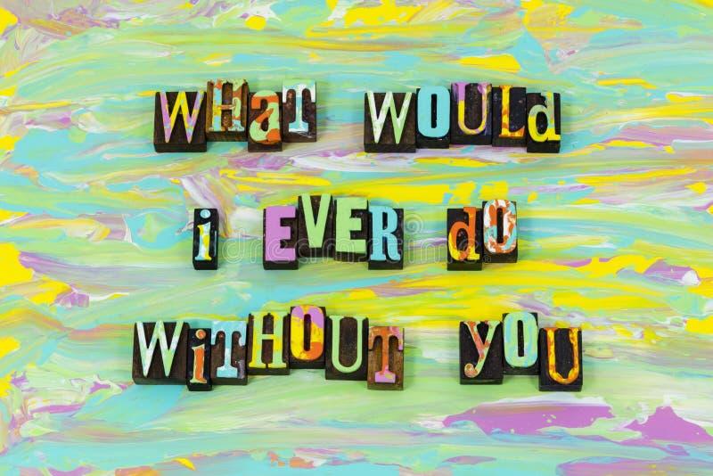 Potrzeba ty kochasz wpólnie na zawsze szczęśliwego wdzięcznego letterpress typ ilustracji