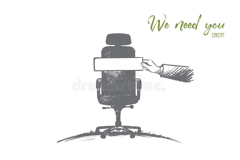 Potrzebujemy Was pojęcie Ręka rysujący odosobniony wektor ilustracji