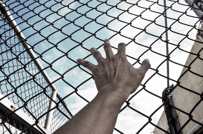 Potrzeby wolność z ręką w więzieniu zdjęcie royalty free