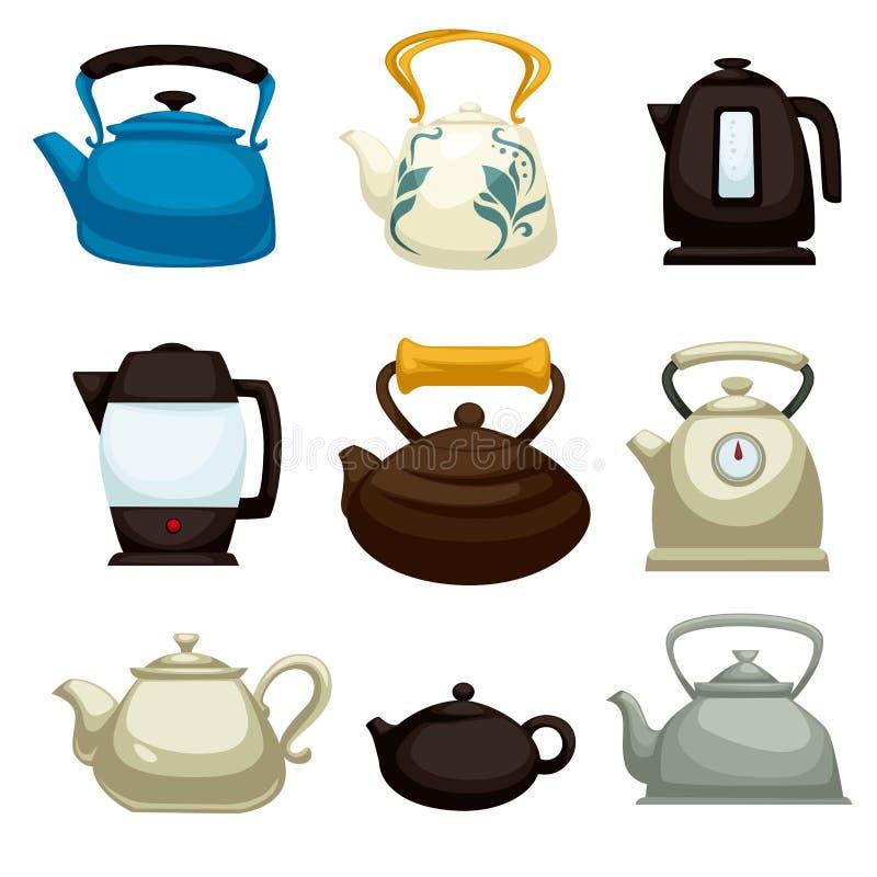 Pots électriques de théières et articles de cuisine d'isolement par bouilloires illustration stock