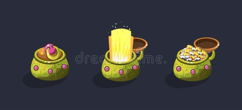 Pots antiques de coffre au trésor, ouverts et fermés avec les pièces de monnaie, élément d'interface utilisateurs de jeu pour le  illustration stock
