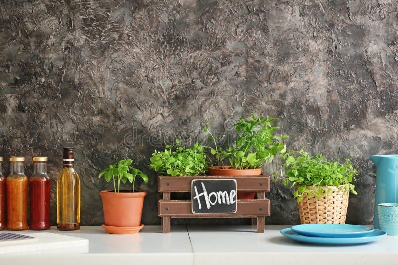 Pots avec les herbes, la vaisselle et les bouteilles aromatiques fraîches de sauces sur la table légère photographie stock libre de droits
