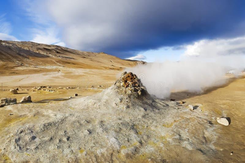 Pots chauds de soufre en Islande activité volcanique lourde photos libres de droits