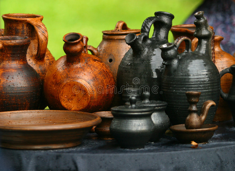 Pots from clay stock image
