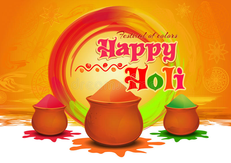 Pots with colorful gulaal, powder color for festival of colors Happy Holi. Happy Holi greeting card. Vector illustration stock illustration