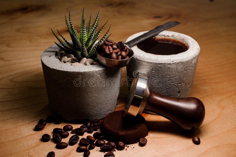 Pots concrets à la mode avec la boisson et l'usine de café photos libres de droits