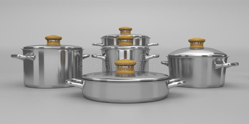 Pots d'acier inoxydable illustration libre de droits