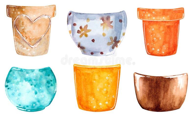 Pots d'argile d'usine de différentes couleurs, illustration tirée par la main d'aquarelle illustration libre de droits