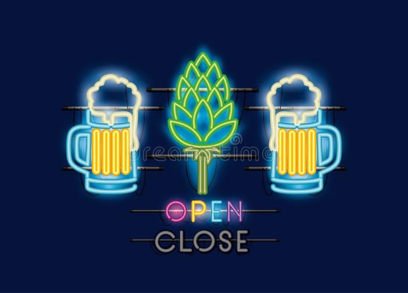 Pots de bières et lampes au néon de transitoires illustration stock