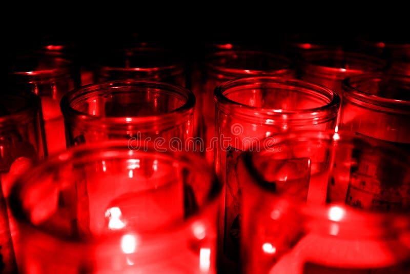 Pots de Candelight de verre Candel Red Glow photographie stock