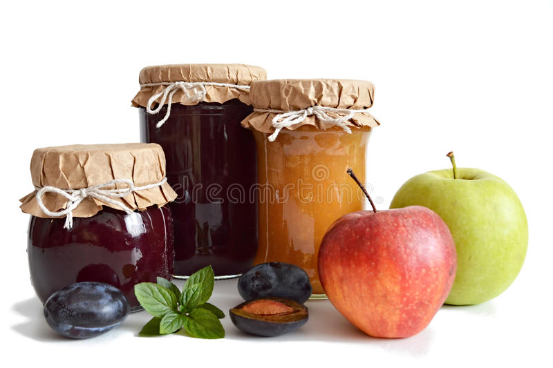 Download Pots de confiture de fruit photo stock. Image du fond - 76089572