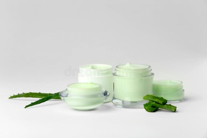 Pots de crème corporelle avec l'extrait d'aloès image libre de droits