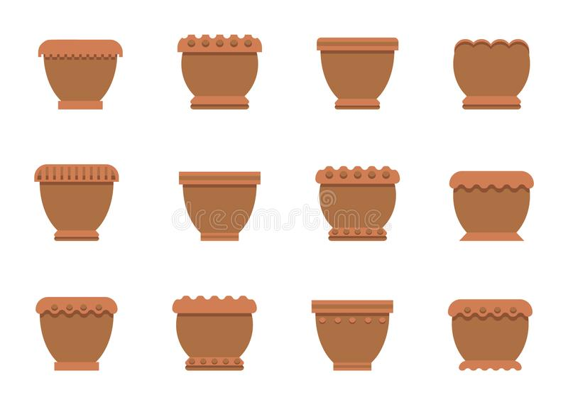 Pots de fleur d'illustration de vecteur d'ensemble de couleur de Brown illustration stock