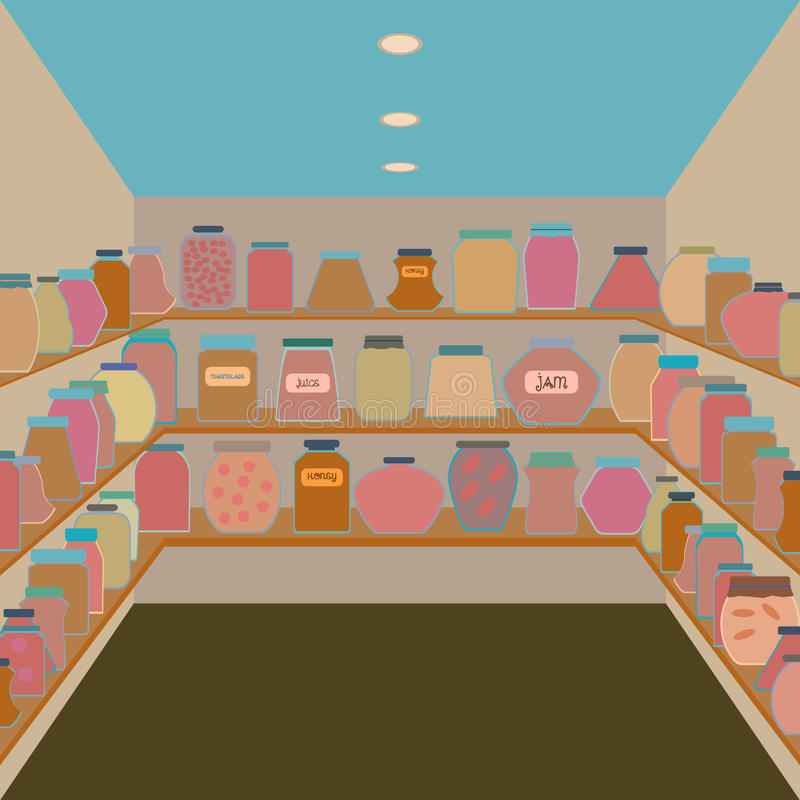 Pots de maçon dans une cave Vecteur plat de conception illustration libre de droits