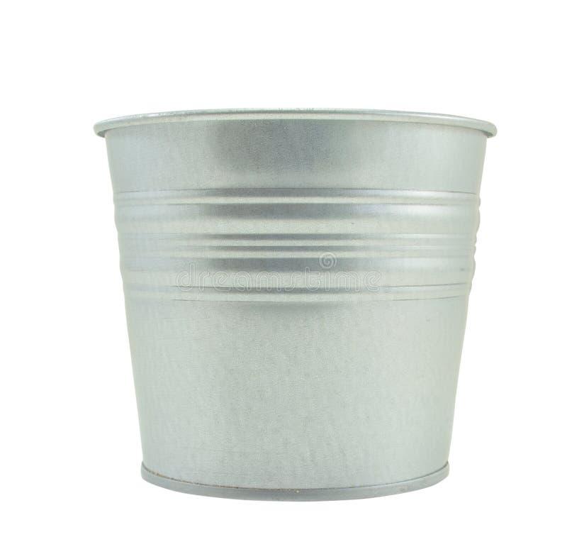 Pots en aluminium d'arbre, blanc d'isolement photos stock