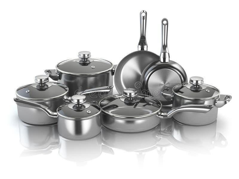 Pots et casseroles Ensemble de faire cuire les ustensiles a de cuisine d'acier inoxydable illustration stock