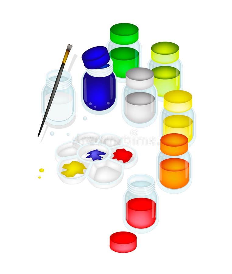 pots et palette de peinture de couleur avec une brosse photo stock image du image peinture. Black Bedroom Furniture Sets. Home Design Ideas