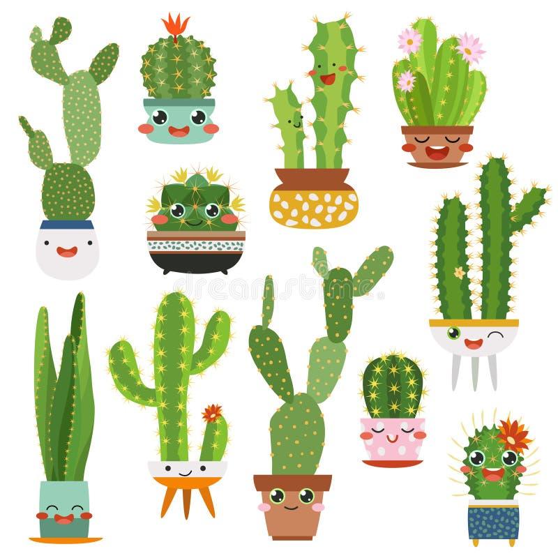Pots mignons de cactus Beaux amis de visage de bande dessinée de cactus de fleur d'usine drôle succulente heureuse de sourire, ca illustration libre de droits