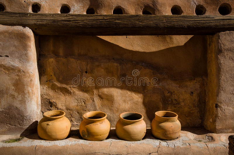 Pots in the Mission. These pots sit in an out building at the Mission San Jose De Tumacacori near Tubac Arizona royalty free stock photo