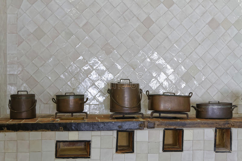 Pots and pans in the kitchen of Palace, Sintra stock photos