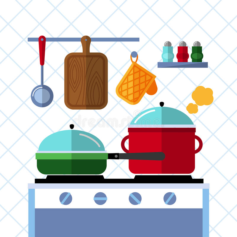 Pots and pans on a stove, Kitchen cooking flat vector concept background. Pot and pan kitchen, cooking pot and pan, dinner in pan, domestic pot illustration royalty free illustration